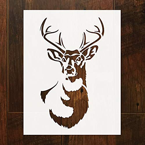 Design Reindeer Tile Stencil 9'' x 7'' Laser Cutting Tiles Stencil Template for DIY Home Decor. (1 Pack) (Reindeer 1pc)