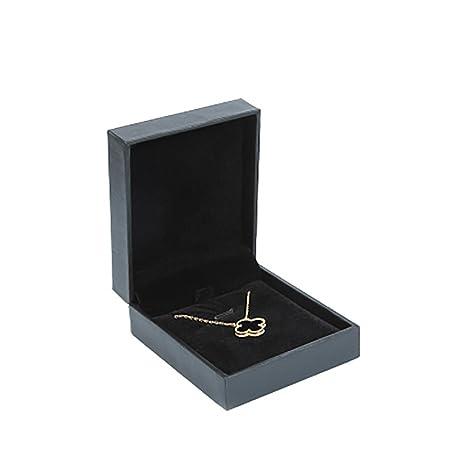JUNGEN® Caja de Collar Organizador de Joyero Joyas, Estuche de joyería con Interior de Terciopelo Caja de Almacenamiento Boda Regalo (Negro)