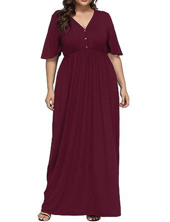 504efdf5b68 Allegrace Women s Plus Size V Neck Button up Maxi Dress Bell Sleeve Beach  Long Dresses Wine