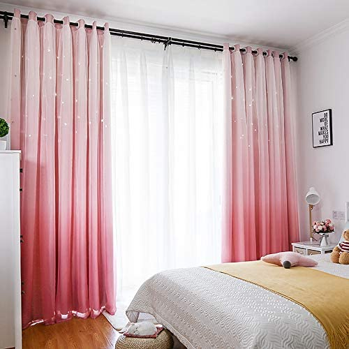 Tinysun Gradient Voile Overlay Star Cut-Out Curtains