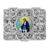 Silver Miraculous Rosary Box Depicting Our Lady of Grace - Catholic Gifts + Lourdes Prayer Card
