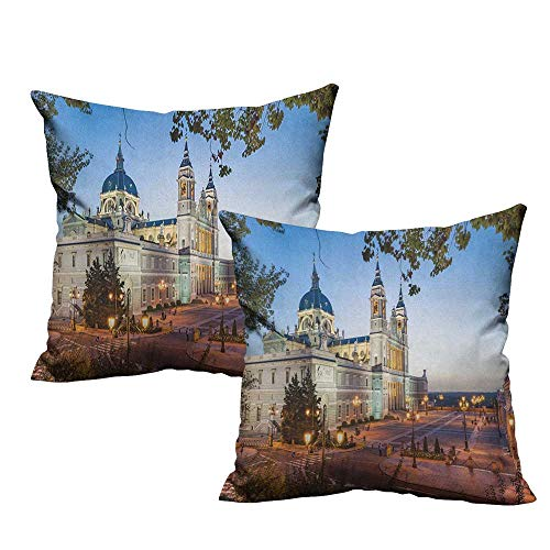 (RuppertTextile Creative Pillowcase European Old Cathedral and Royal Palace in Madrid Mediterrenean City Europe Urban Print Anti-Fading W20 xL20 2 pcs)