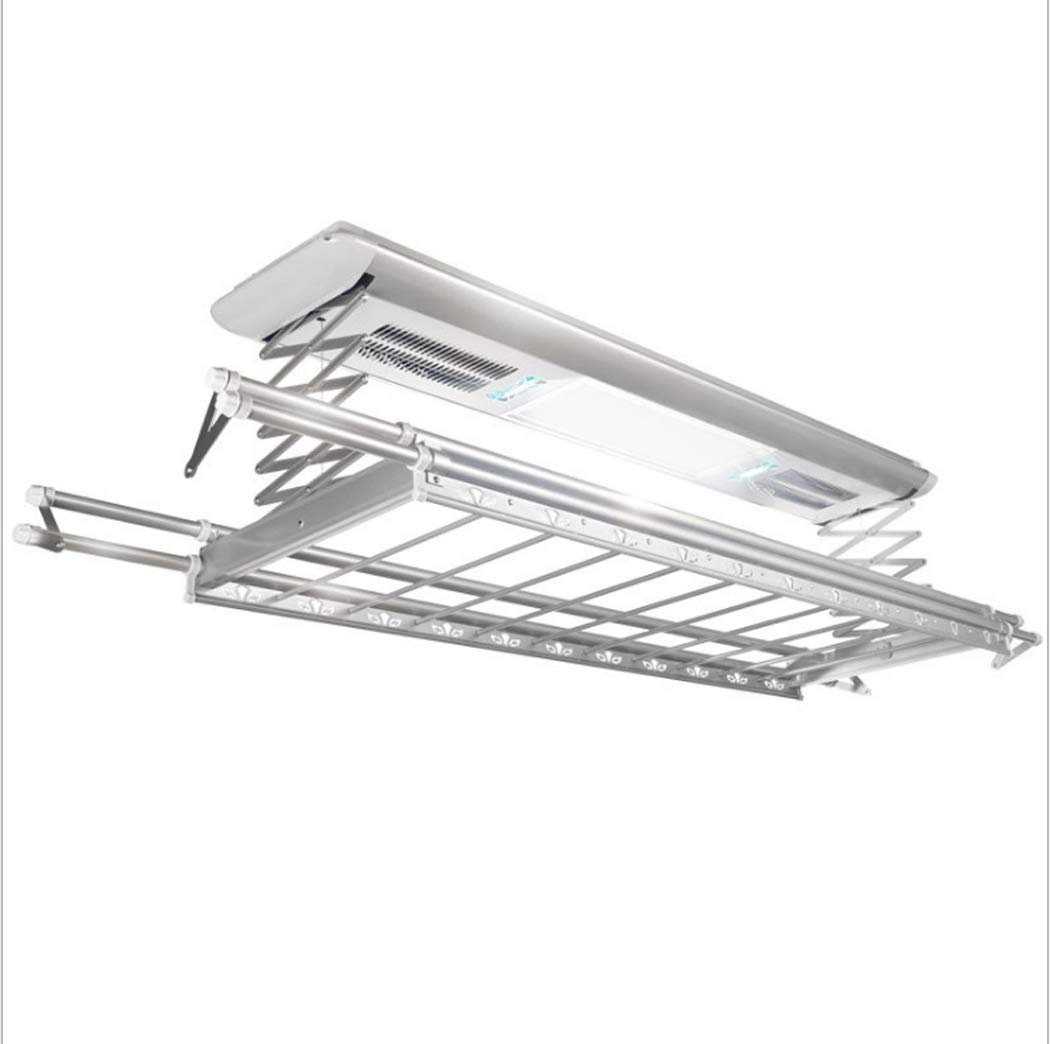 Electrical Drying Rack Ceiling Mounted Clothes Drying Rack with LED Light, Drying Fan, UV Sterilization Remote Control (Color : Silver, Wattage : 110v)