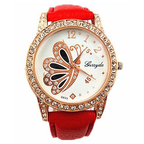 Women's Butterfly Pattern Rhinestone Quartz Wrist Watch Red