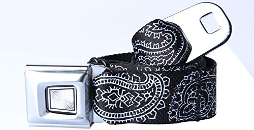 Buckle-Down Black And White Bandana Starburst Seatbelt Belt