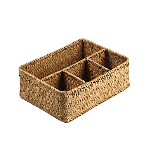 Taimot Hand-Woven Rectangular Storage Basket with 4 compartments, Seaweed Weaving Handmade Desktop Organizing Rattan Basket, Storage for Toys Magazines ()