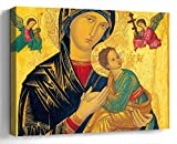Wall Art Canvas Print Photo Artwork Home Decor (24x16 inches)- Mother of Perpetual Help Icon Madonna Holy