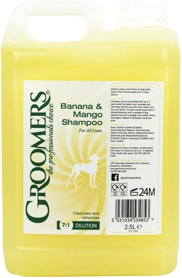 Groomers - Champú de 2,5 l para Perros, con Aroma a plátano y Mango