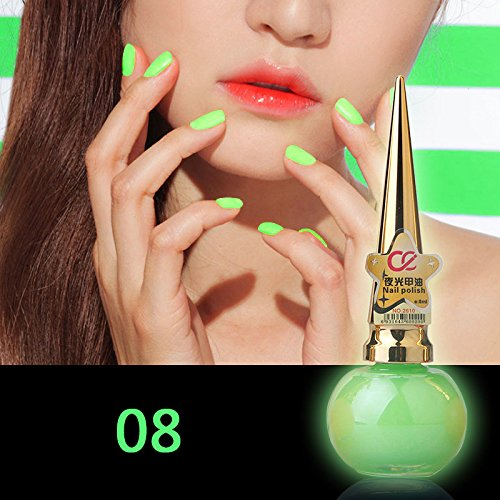 KeyZone 8ml Glow In The Dark Nail Polish Fluorescent Candy Color Cosmetic For Party Charming Design Best Gift 08 ()