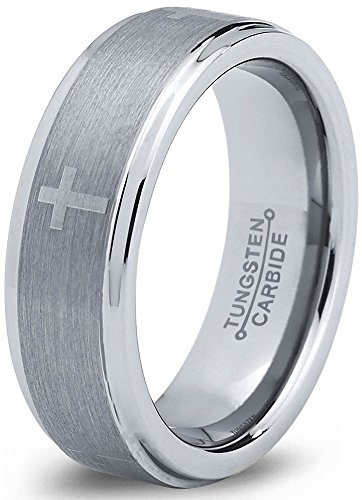 Charming Jewelers Tungsten Wedding Band Ring 6mm for Men Women Christian Cross Comfort Fit Grey Step Beveled Edge Brushed Size 15 Christian Cross Wedding Band