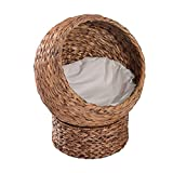 """wicker pet bed PawHut 24"""" Natural Braided Banana Leaf Elevated Cat Bed Basket with Cushion"""