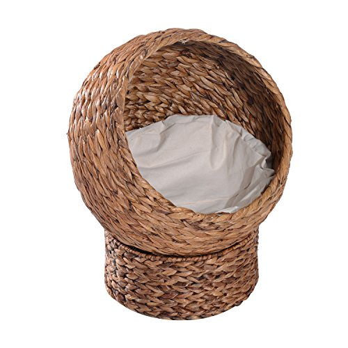 "PawHut 24"" Natural Braided Banana Leaf Elevated Cat Bed Basket"