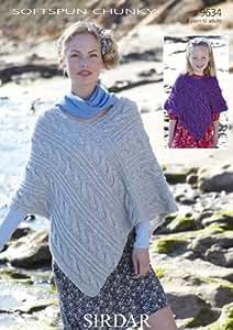 Sirdar 9634 - Patrón para tejer poncho de mujer y niña con ovillo Softspun Chunky