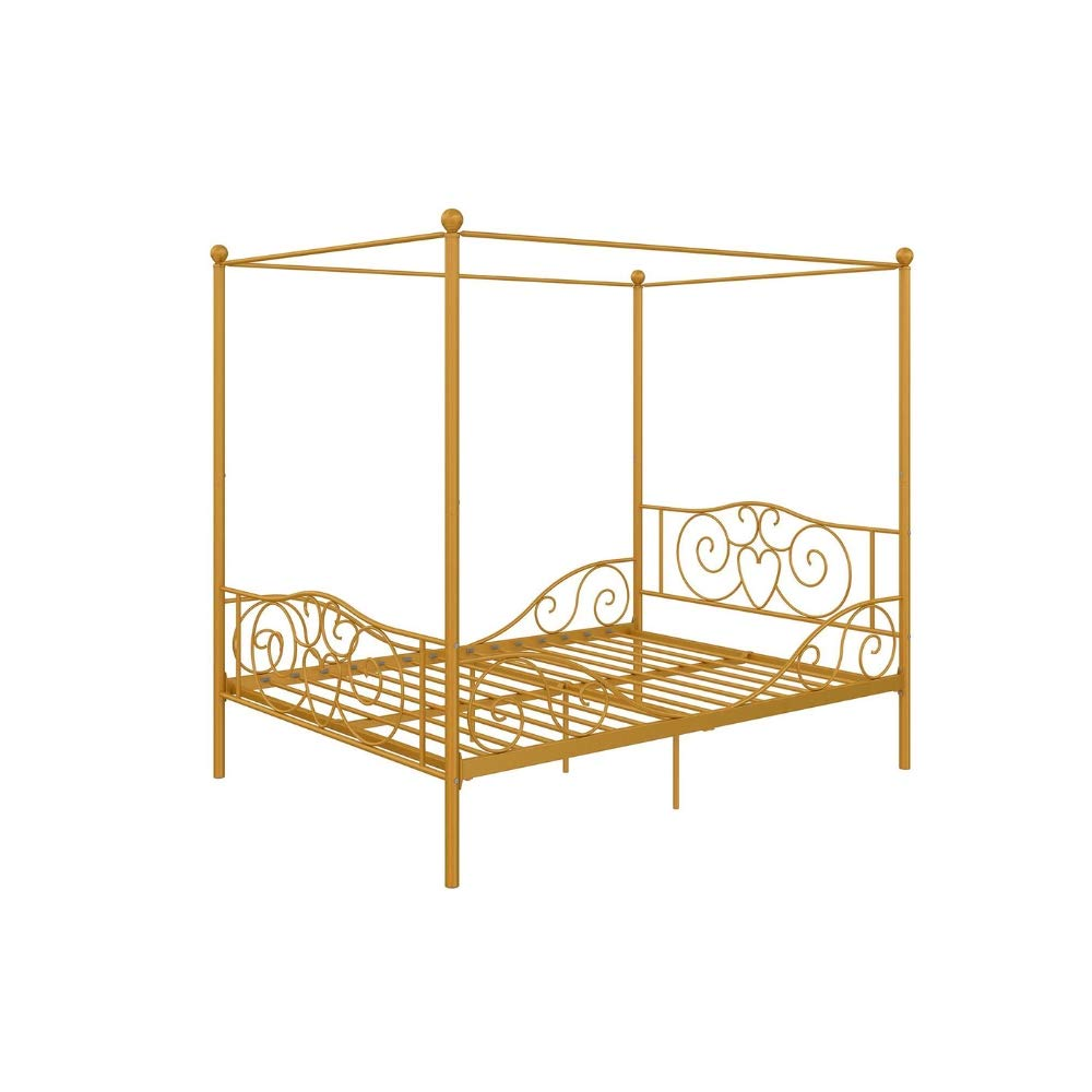 Antique Metal Twin Bed Canopy Kids Toddler Gold Mattress Foundation Platform Headboard Footboard Scrolled Lines 4 Corners Curtain Canopy Single Bed for Girls Womens Metal Framed Canopy Sturdy Modern
