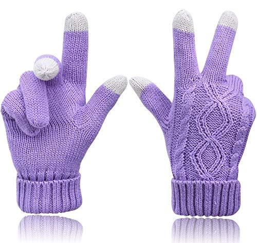 Verabella Womens 3 Finger Touchscreen Sensitive Cable Knit Fleece Lined Winter Gloves