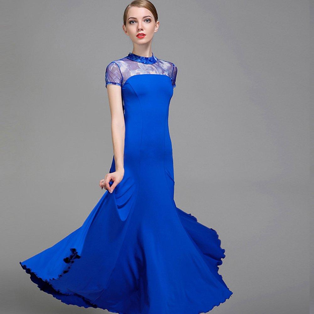 【保障できる】 現代の女性の大きな振り子ネット糸ファッションモダンダンスドレスタンゴとワルツダンスドレスダンスコンペティションスカート印刷半袖ドレスダンスコスチューム XXL|Blue B07HHPXNMZ XXL Blue XXL|Blue Blue XXL, 龍山村:a3440fe2 --- a0267596.xsph.ru