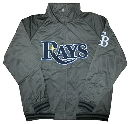 VF Tampa Bay Rays MLB Mens Majestic Full Zip Charcoal Tricot Track Jacket Size 2XL ()