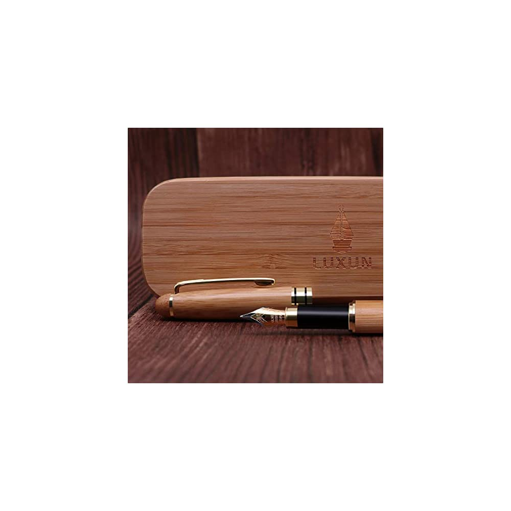 fountain pen writing set case 100 handcrafted bamboo vintage collection with ink refill. Black Bedroom Furniture Sets. Home Design Ideas