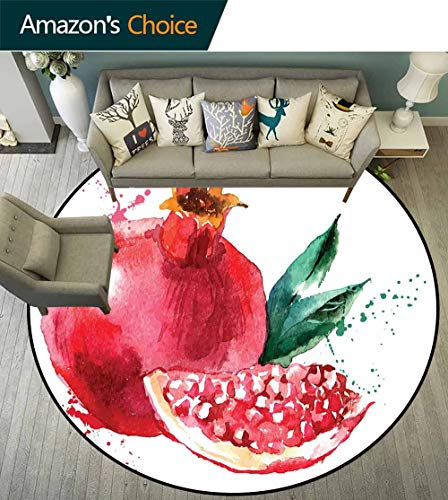 Fruit Round Rug Children,Pomegranate Hand Drawn Watercolor Style Paint Yummy Juicy Winter Taste Art for Bedroom,Magenta Forest Green,D-51