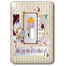 Beverly Turner Birthday Design - Collage of Stars, Cupcake, and Candle, Happy 43rd Birthday - Light Switch Covers - single toggle switch (lsp_243675_1)