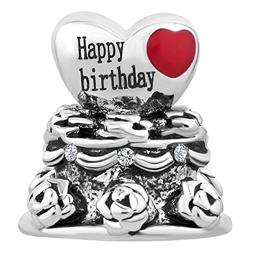 Enamel Locket Charm - Q&Locket Happy Birthday Cake Enamel Charms Bead Fit Charms Bracelet (Heart Happy Birthday Cake)