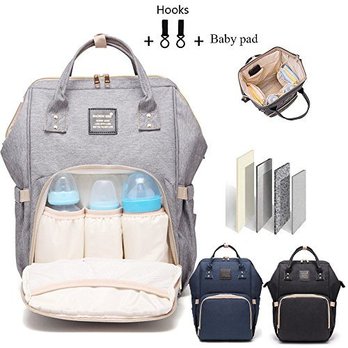 Baby Diaper Bag Multi-Function Waterproof Travel Backpack Nappy Bags for Baby Care, Large Capacity, Stylish and Durable (Gray)