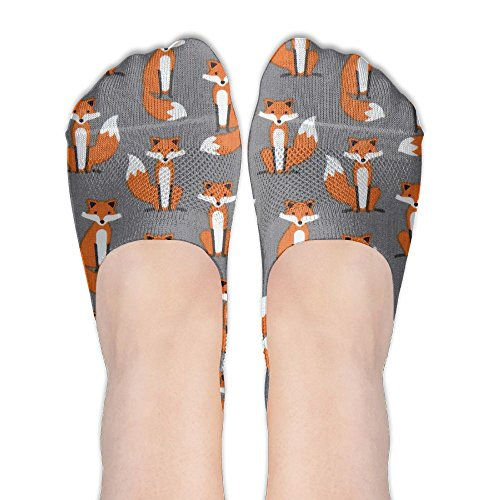Grey Fox Animal Premium Laminate Fabric Fabulous Foxes Comfort Cotton Low Cut Socks For Women & Men (Christmas White Fabulous Fox)