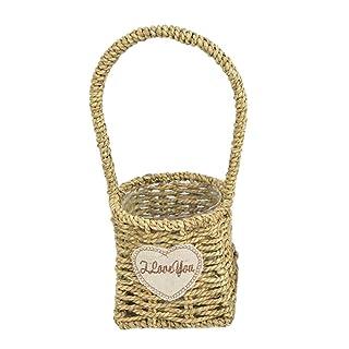 Rettangolo Willow Basket Pastorale impermeabile portatile Vimini Cesto fioriera vaso vaso rattan con manico