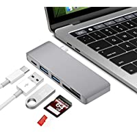 Sikeda 5 IN 1 USB C Hub, Aluminum Type C Pass-Through Charging Adapter with 2 USB 3.0 Ports and SD/Micro Card Reader for Macbook Pro,Chromebook and More
