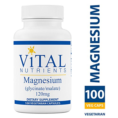 - Vital Nutrients - Magnesium (Glycinate/Malate) 120 mg - Magnesium for Sensitive Individuals - Supports Heart Health and Calcium Absorption - 100 Vegetarian Capsules per Bottle