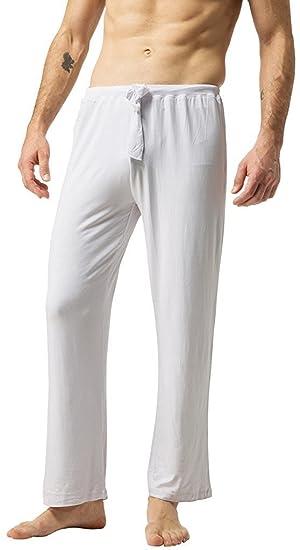 ZSHOW Homme Pantalon de Sport en Coton Souple Yoga Pyjama Super Soft Blanc  Small 287b8342eb7
