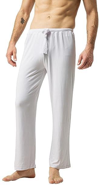 ZSHOW Pantalones de Yoga para Hombre de Algodón Pantalones Largo de Pijama Small Blanco