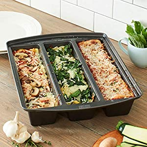 Chicago Metallic Professional Lasagna Trio Bread Loaf Pan, 12 by 15 by 3″, Silver