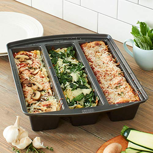 Chicago Metallic 26783 Professional Lasagna Trio Pan, 12.5 in by 3 in by 2.5 in, Silver by Chicago Metallic (Image #1)