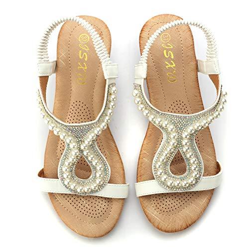 Bead Wedge Sandal - Odema Women Wedges Sandals Platform Dress Rhinestone Beads Peep Toe Slip On Shoes White