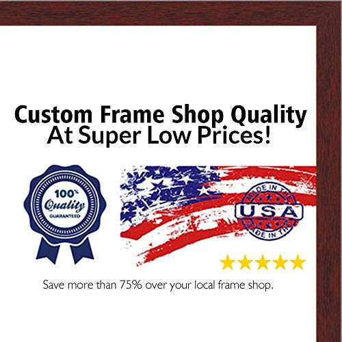 (Poster Palooza 11.7x16.5 Traditional Mahogany Wood Picture Frame - UV Acrylic, Foam Board Backing, Hanging Hardware Included!)