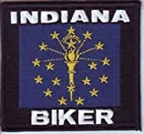 Cheap Indiana Biker STATE Flag Embroidered Motorcycle MC Club USA Vest Patch PAT-0958