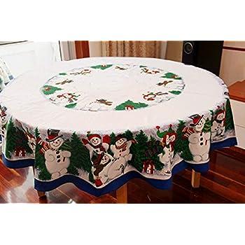 Amazon.com: MZPRIDE Cute Snowman Christmas Tablecloth Pine ...