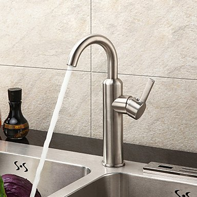 SUNNY KEY-Kitchen Sink Taps@Sprinkle® Sink Faucets, Contemporary with Brushed Single Handle One Hole, Feature for Centerset