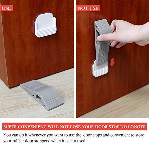 Door Stopper with Free Bonus Holders,4Pack Airsspu Rubber Door Stop Wedge Works on All Surfaces,Safety and Strong Grip(4Pack - Gray) by Airsspu (Image #4)