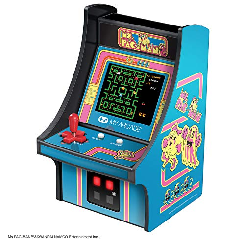 My Arcade Micro Player Mini Arcade Machine: Ms. Pac-Man Video Game, Fully Playable, 6.75 Inch Collectible, Color Display, Speaker, Volume Buttons, Headphone Jack, Battery or Micro USB Powered