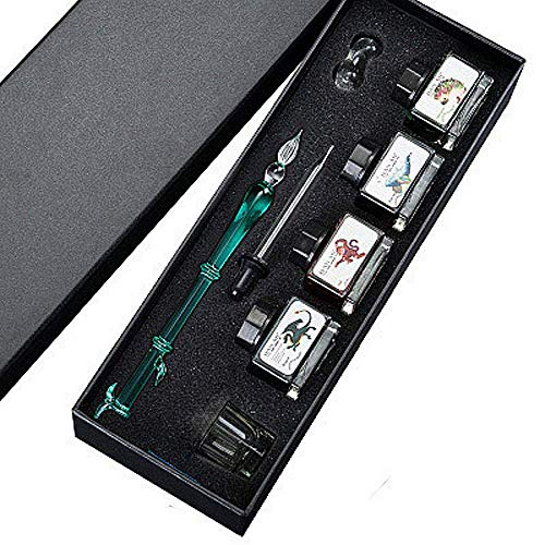 (Bamboo Type Calligraphy Pen Set, Elegant Design Signature Glass Dip Pen Set - 4 Bottle Inks & Glass Holder & Small Octagonal Cup & Crystal Tube, 100% Quality Guarantee (Green) (Including Ink))