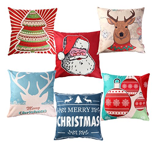 Unomor Christmas Pillow Covers for Sofa Bedroom Home Décor - Set of 6 (18 X 18) (Cotton Linen Christmas Pillow Covers)