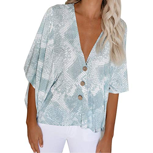 DAYPLAY Womens Tops Plus Size V Neck Snake 3/4 Sleeve Button Tee Ladies T Shirt Loose Blouses Summer 2019 Clothes Sale Green