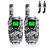 FAYOGOO Kids Walkie Talkies, 22-Channel FRS/GMRS Radio, 4-Mile Range Two Way Radios with Flashlight and LCD Screen Boys Girls Gifts Toys (CAMO Gray)
