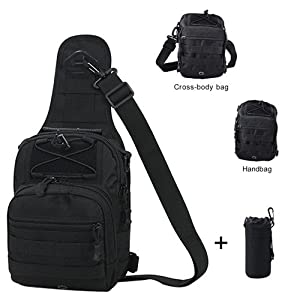 Fitmall Tactical Bags with Molle Water Bottle Pouch Cross-body Bags Chest Bag Daypack for Camping Hiking Trekking (Black)