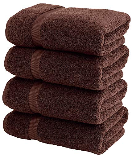 Lint Free 4 Piece Turkish Hand Towel Set Prime Kitchen Bathroom (Bulk Pack of 4) 450 GSM Quick Dry Off Premium Cotton, Spa Hotel Quality Luxury Reserve Designer 2018 Collection Bundle Brown