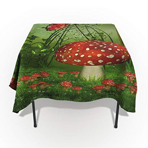 Nature Home Cotton Linen Tablecloth Dust-Proof Table Cover for Kitchen Dinning Picnic Tabletop Decoration, Green Fairy Tale Mushroom and Butterfly Night Lamp, Rectangle Tablecloths 54 x 87-inch