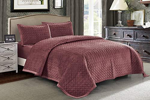 Luxury Duvet Bedding Ensemble - Wonder-Home 3 Piece Diamond Pattern Velvet Quilt Set, Prewashed Oversized Diamond Quilted Coverlet Set, Luxury Queen Bedding Set, Preshrunk, Red, 92