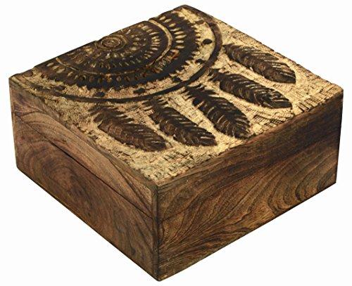 Dreams Box - SAAGA Wooden Multipurpose Jewelry Box Keepsake Trinket Treasure Chest Storage Box with Dream Catcher Carving   7x7 inches